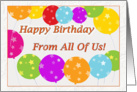 Happy Birthday From All Of Us Bright Balloons card
