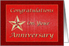 Employee Five Year Anniversary Red With Gold Star card