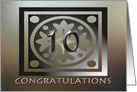Employee Anniversary Card Ten Years Of Service Elegant Golden card