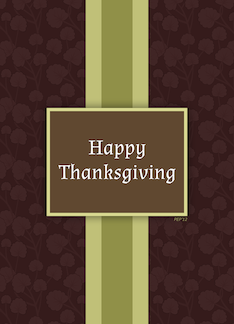 Happy Thanksgiving Card, Classic Brown And Green Pattern Greeting Card