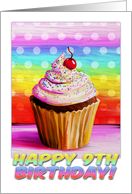 Happy 9th Birthday, pretty cupcake painting, rainbow colors card