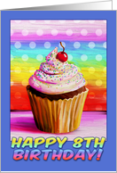 Happy 8th Birthday, pretty cupcake painting, rainbow colors card
