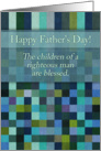 Happy Father's Day! Green square geometric pattern, Christian. card