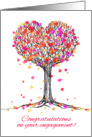 Congratulations on your engagement! Cute heart tree illustration, pink card