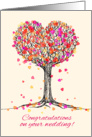 Congratulations on your wedding! Cute heart tree illustration, pink. card