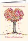 Congratulations to my daughter on her wedding day, heart tree drawing. card