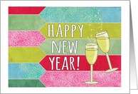 Happy New Year! Champagne glasses, pink, blue, lime, mint patterns card