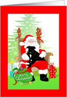 Merry Christmas - Black Pit Bull dog on Santa's lap card