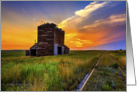 Grain Elevator at Sunset - All occasion card