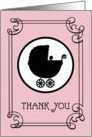 Baby Gift Thank You - Baby Carriage Silhouette - Pink card