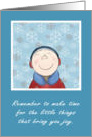 Encouragement - Happy Little Boy in the Snow card