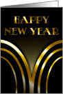 Happy New Year - Art Deco Black and Gold card