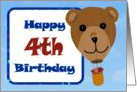 Happy 4th Birthday - Teddy Bear Hot Air Balloon card
