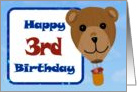 Happy 3rd Birthday - Teddy Bear Hot Air Balloon card
