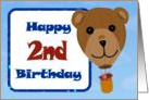 Happy 2nd Birthday - Teddy Bear Hot Air Balloon card