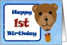 Happy 1st Birthday - Teddy Bear Hot Air Balloon card