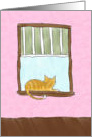 Encouragement - Yellow Tabby Cat in a Window card
