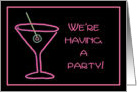 Party Invitation - Retro Pink Neon Martini card