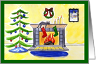 Christmas with fireplace and cat card