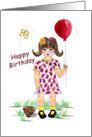Birthday card for little girl with a balloon card