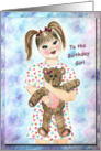 Birthday card for girl holding a teddy bear card