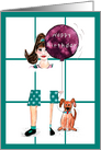 Happy Birthday Dog and Balloon card