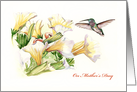Mother's Day card with Petunias and Hummingbird card