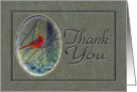Thank You For The Gift Red Bird On Tree Branch Digital Painting card