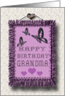 Happy Birthday Grandma Cross Stitch Linen Look card