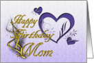 Happy Birthday Mom Purple Hearts card