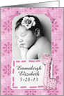 Baby Girl Announcement Photo Card and Customize Name Pink Giraffe card