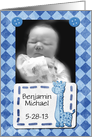 Baby Boy Announcement Photo Card and Customize Name Blue Giraffe card