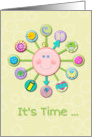 New Baby Congratulations Welcome Cute Clock It's Time card