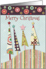 Merry Christmas Colorful Trees and Circles Merry and Bright card