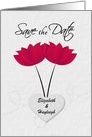 Lesbian Wedding Save the Date Red Flowers and Heart Custom Names card