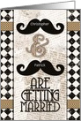 Gay Wedding Announcements Custom Names Vintage Mustaches card