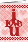 Happy Valentine's Day Checkerboard and Hearts I Love You card