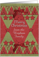 Merry Christmas Custom Name Scrapbook Style Stars and Glitter card