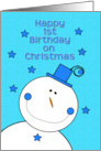 Happy 1st Birthday on Christmas Blue Hat Smiling Snowman card