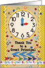 Thank You Principal Colorful School Clock card