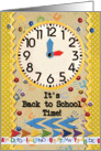 Back to School Time Colorful School Clock card