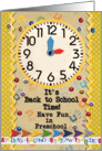 Back to School Time Preschool Fun Colorful School Clock card