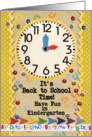 Back to School Time Kindergarten Fun Colorful School Clock card