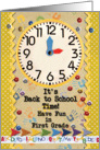 Back to School Time First Grade Fun Colorful School Clock card