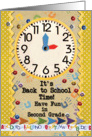 Back to School Time Second Grade Fun Colorful School Clock card