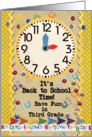 Back to School Time Third Grade Fun Colorful School Clock card