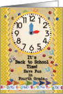 Back to School Time Fourth Grade Fun Colorful School Clock card