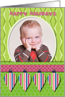Happy Holidays Colorful Ornaments Custom Photo card