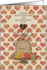 Happy Anniversary On Valentine's Day Lovebirds and Hearts card