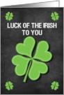 Happy St. Patrick's Day Luck of the Irish Chalkboard Shamrock card